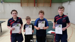 V.l. Niklas Patzelt 2.Platz Schüler A, Lasse Korte 1.Platz Schüler C, Björn Blömer 2.Platz Schüler C und Dominik Bischof 4.Platz Schüler A.